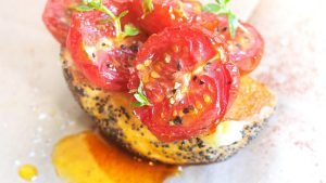 Chilli oil on Grilled Tomatoes