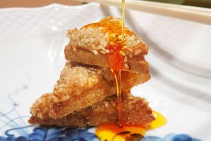 Sesame Prawn toast with Chilli Oil