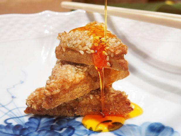 Sesame Prawn toast with Chilli Oil